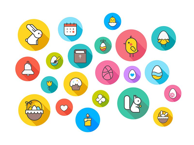 easter icons animation design