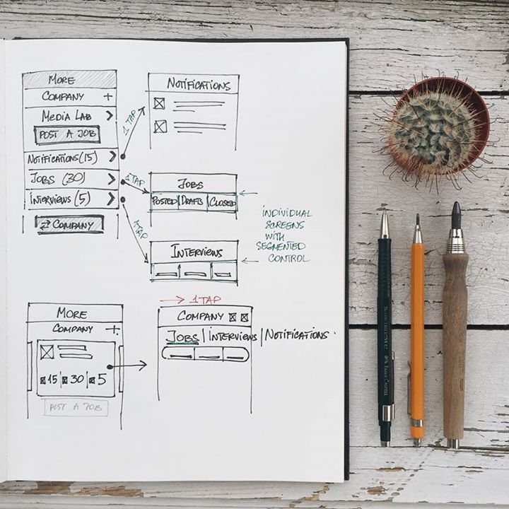 UI design sketches