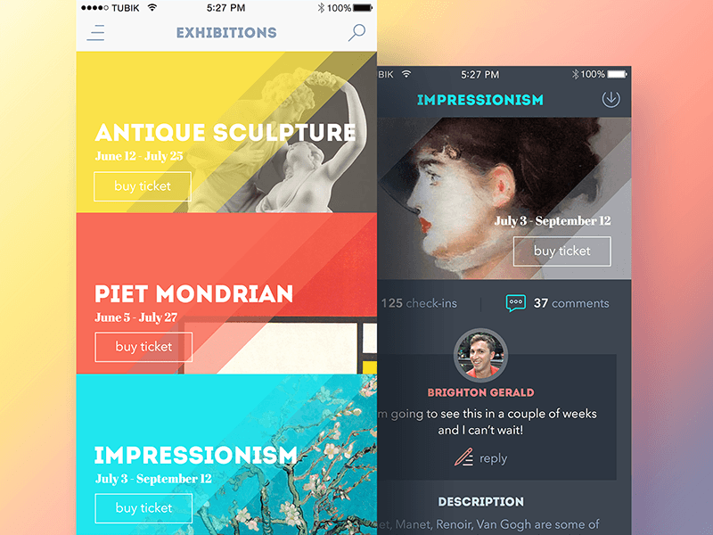 art gallery app UI design