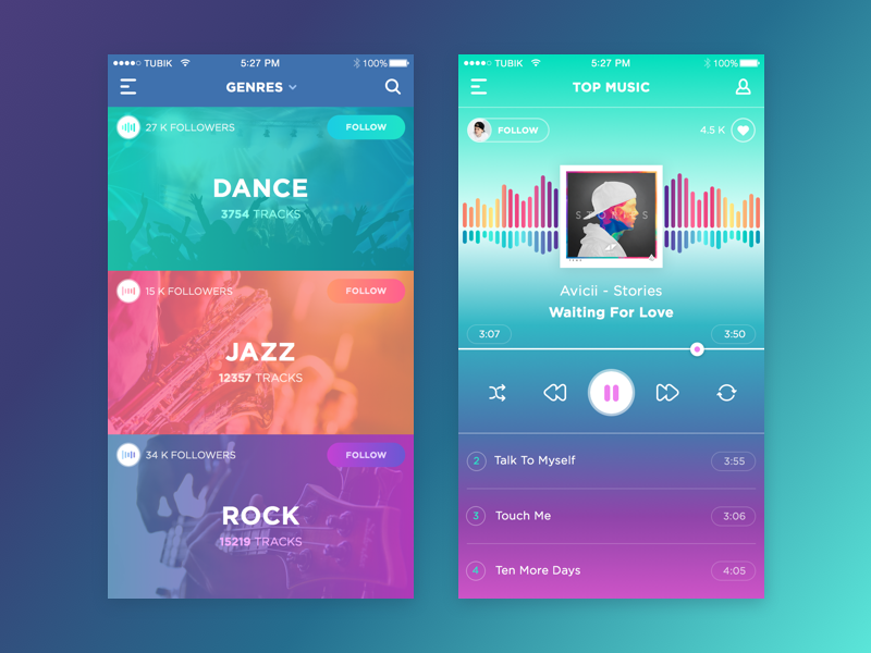 music app bright UI design