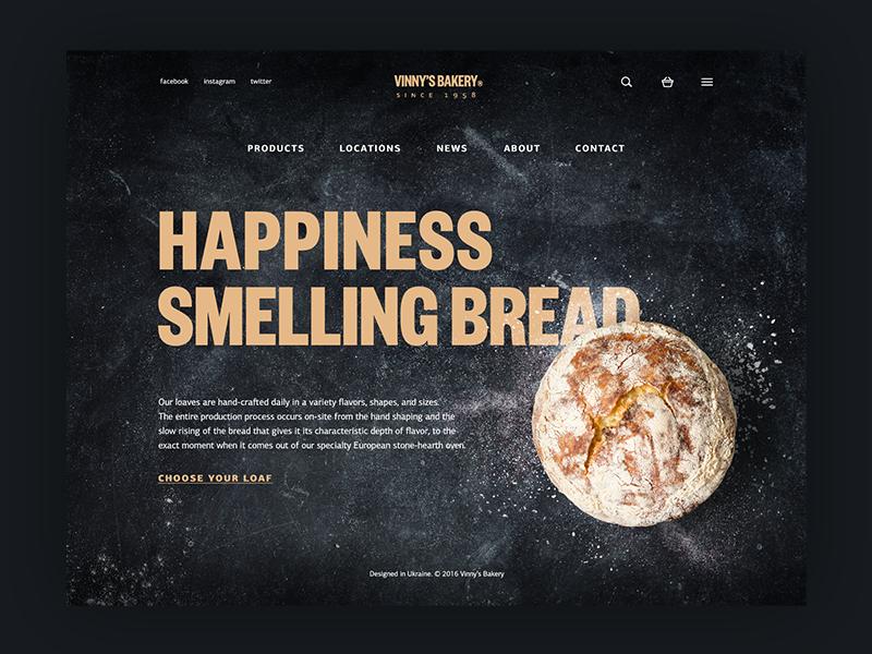 bakery website UI design