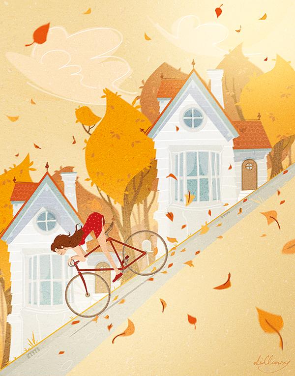 autumn bike ride illustration