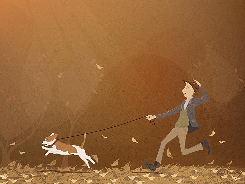 autumn run illustration