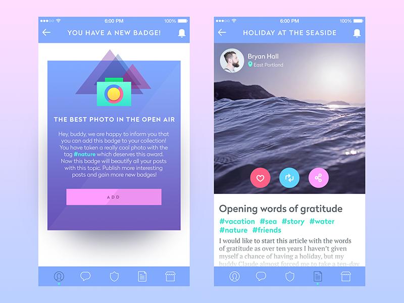 blog app ui tubik studio