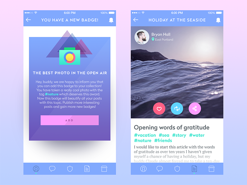 blog app ui tubik