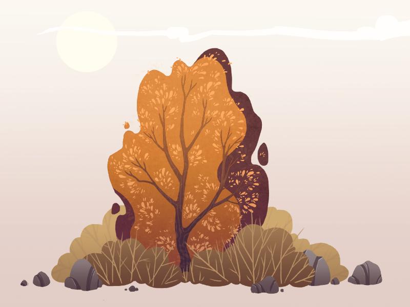 autumn bushes illustration