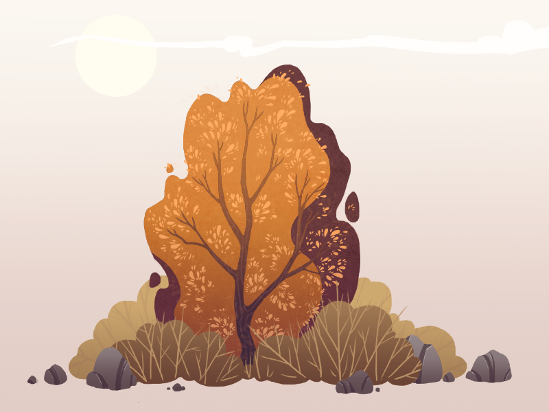 autumn bushes illustration
