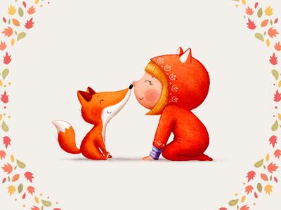 autumn kids illustration