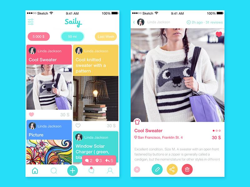 Saily app UI Tubik