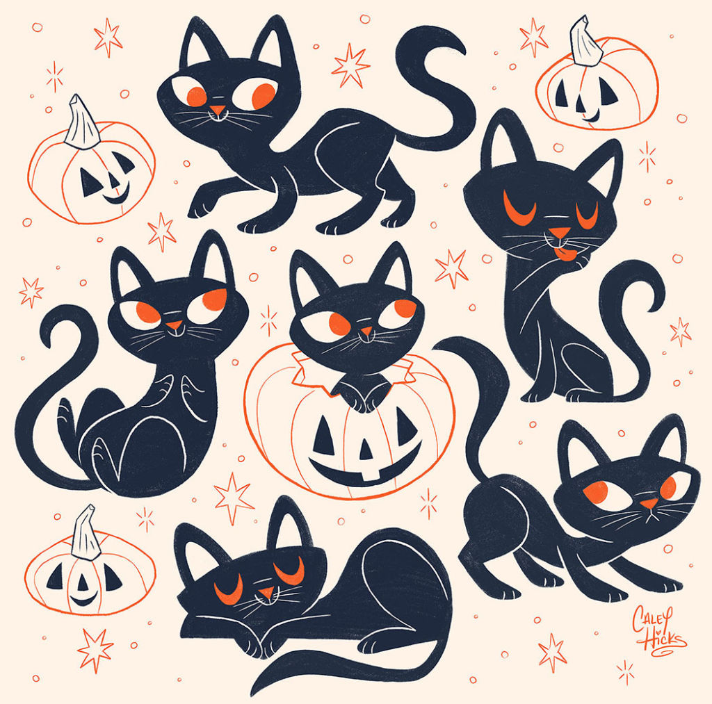 halloween cats illustration