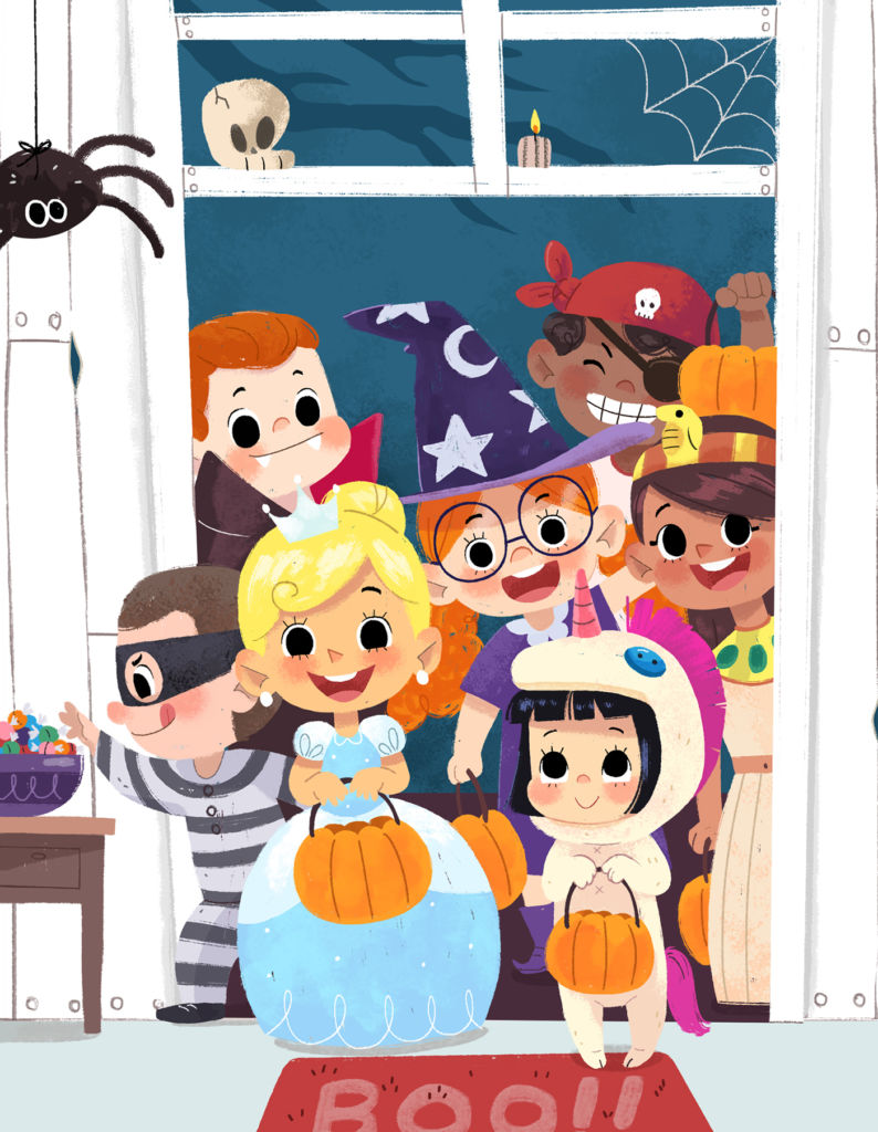 halloween illustration trick or treat