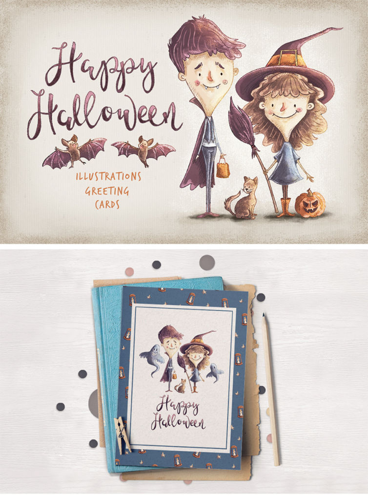 halloween cards illustrations