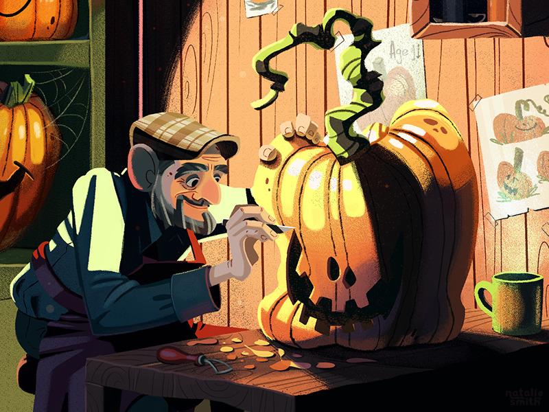 pumpkin carver illustration