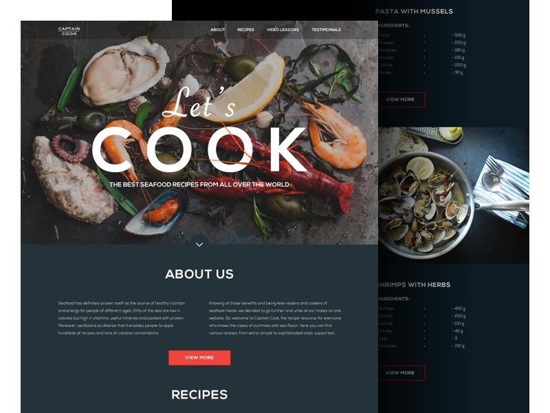 seafood_recipe_website_landing_tubik