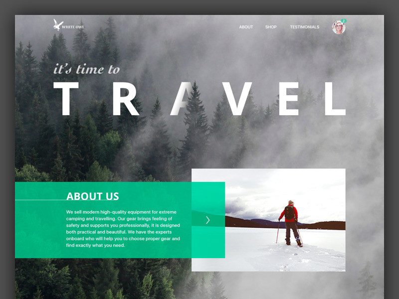 travel gear landing page design