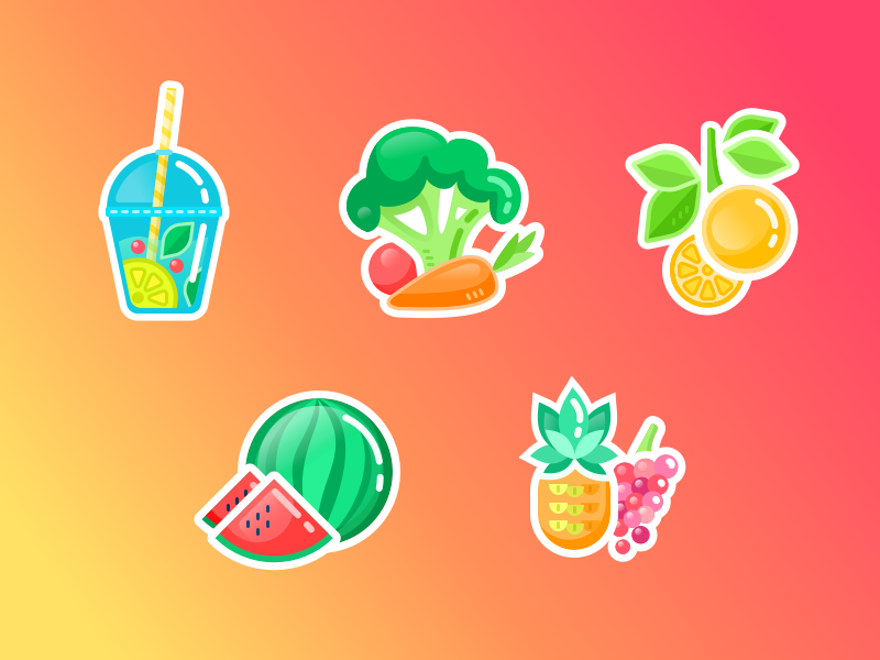 flat design healthy stickers