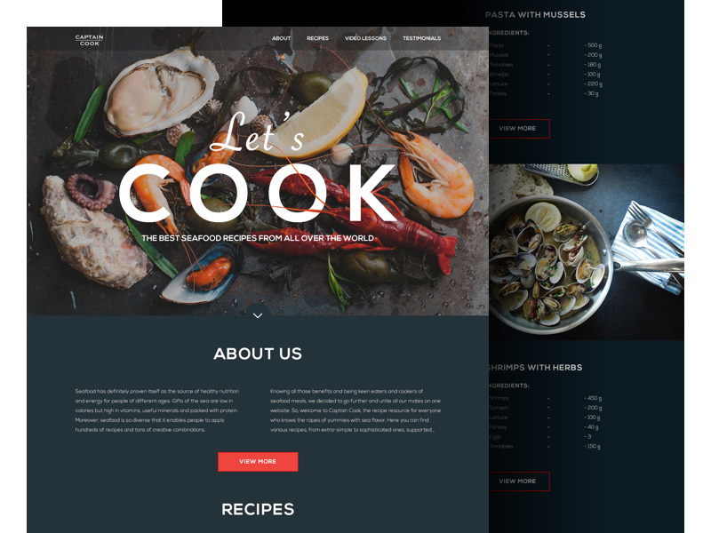seafood_recipe_website_landing_tubik