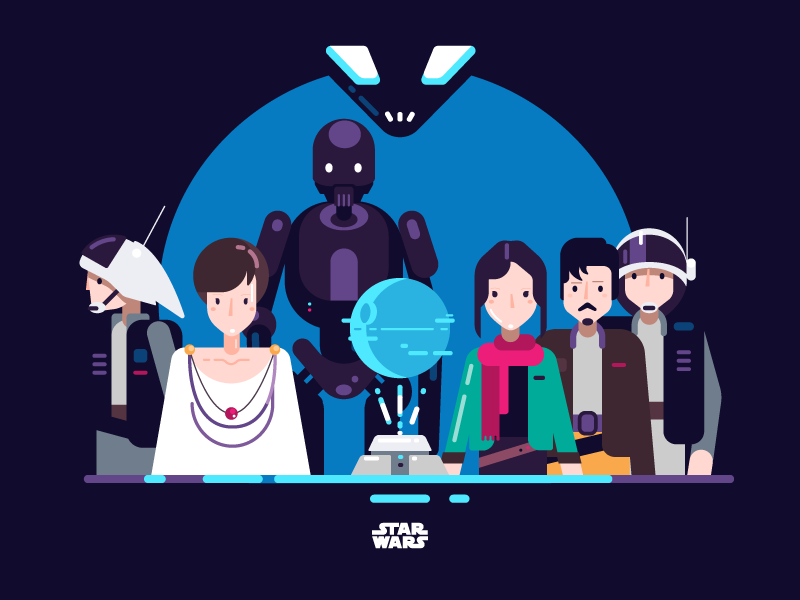 flat design illustration star wars