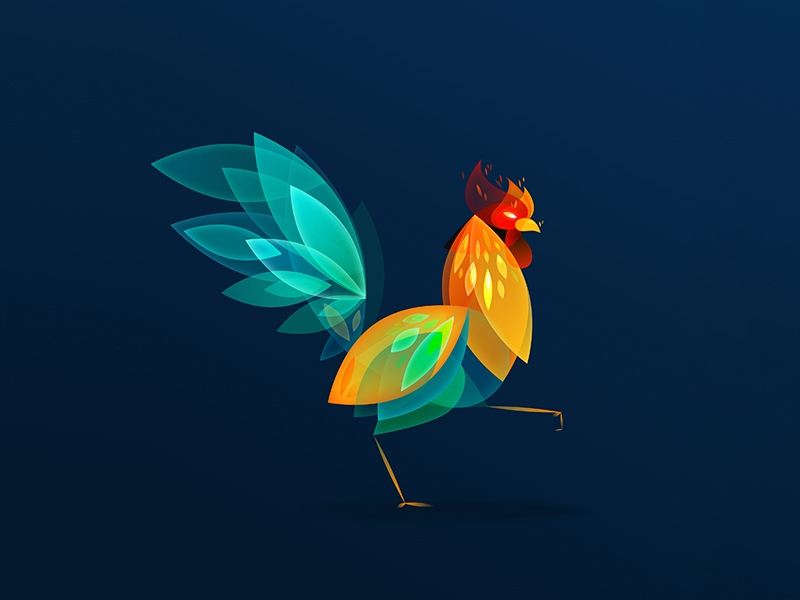 rooster dribbble chinese new year
