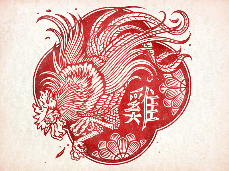 rooster red chinese new year