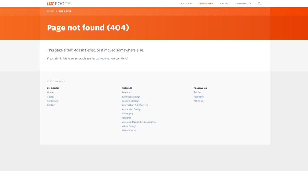 ux booth 404 page