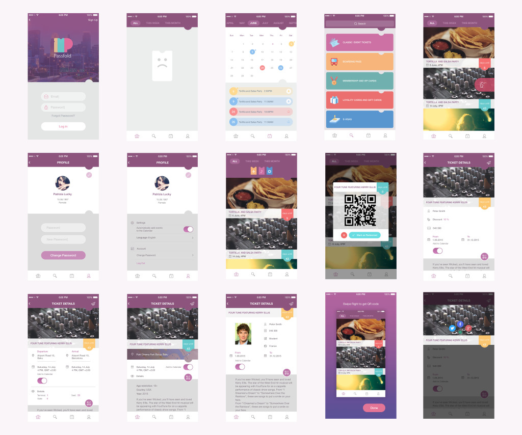 passfold project ui wireframes