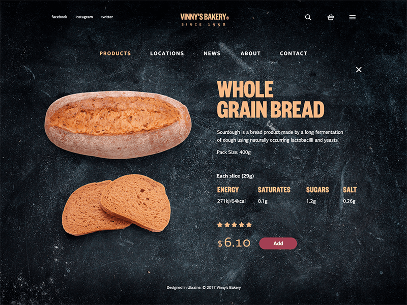 bakery website UI design