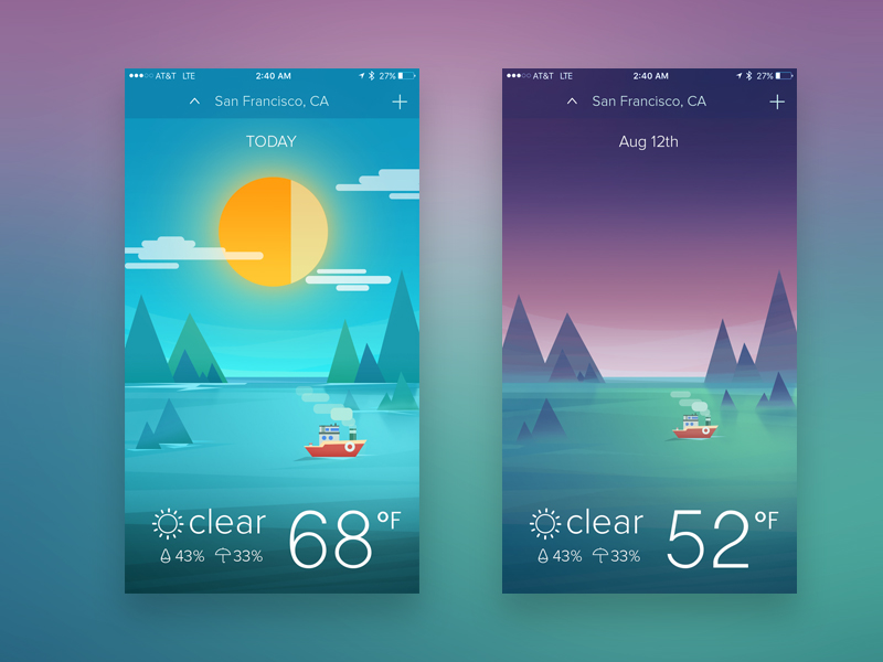 weather app interface