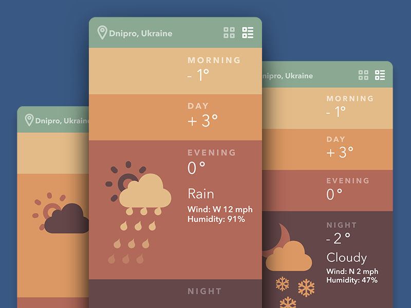 Sunny and Rainy Design: Weather Apps UI Collection