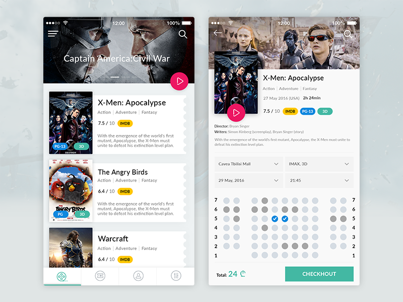 cinema app interface