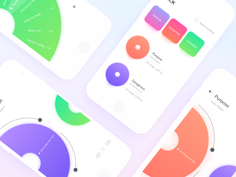 Music in the Hearts. UI Designs for Music Apps