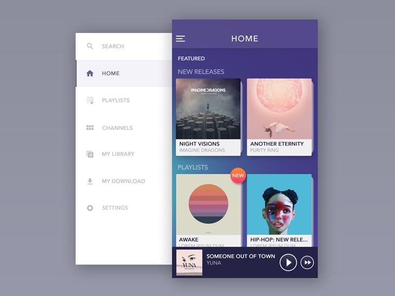 music-app-menu-screen