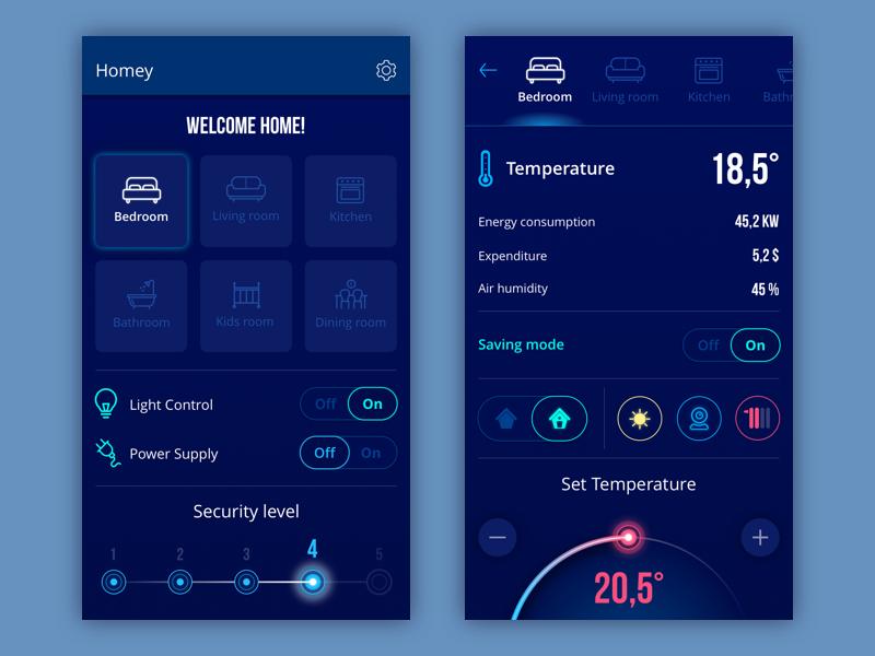 homey app design UI