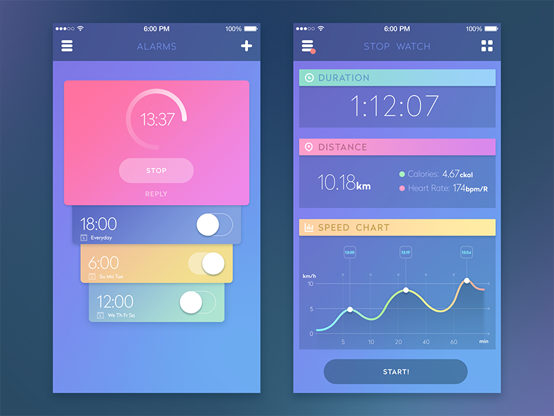 Time to Get Fit. Fitness Apps Design Collection