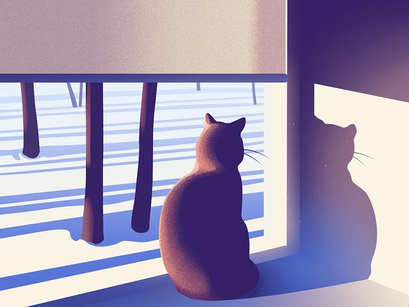 winter cat illustration