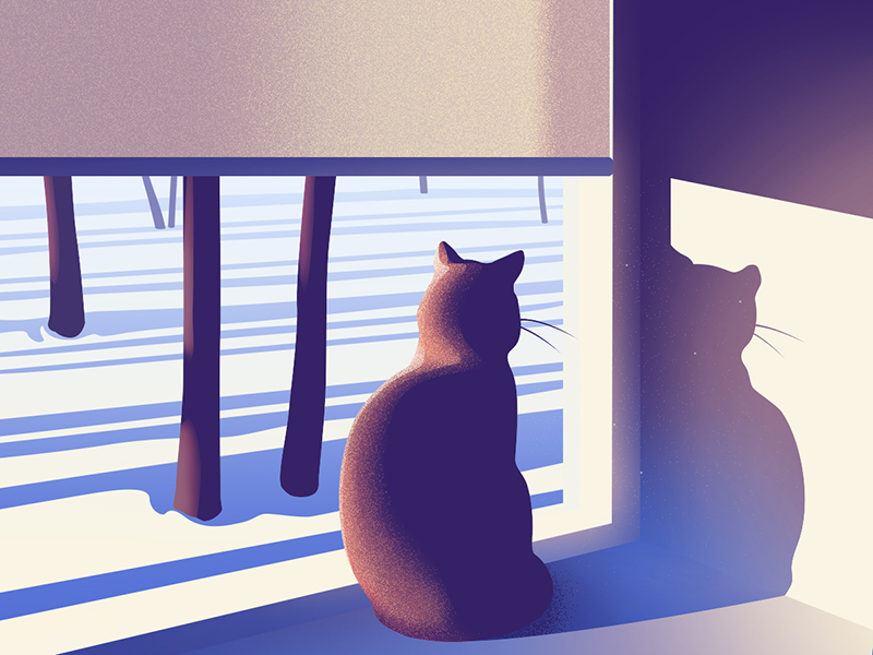 winter cat illustration