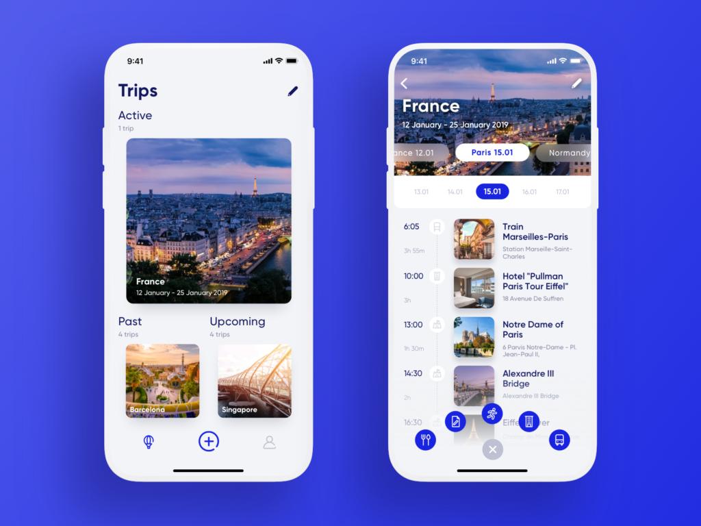 travel planner app ui design