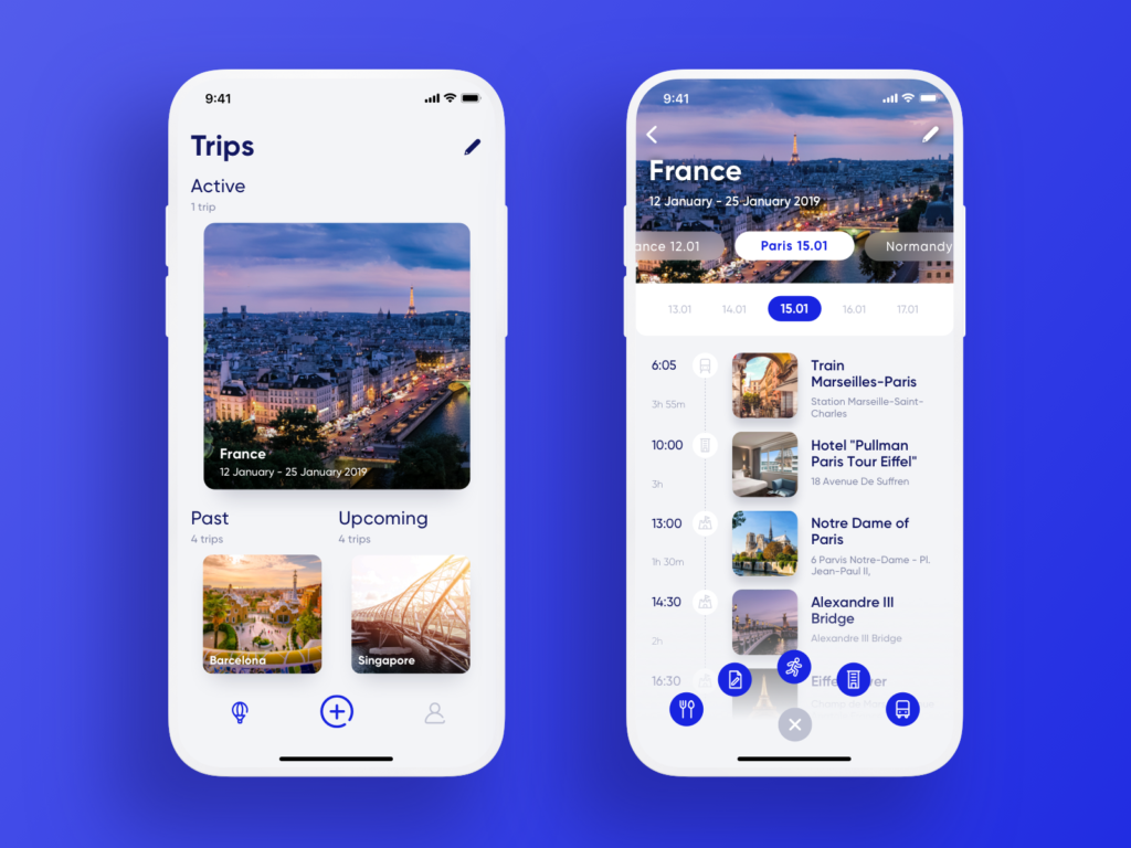 travel planner app ui design