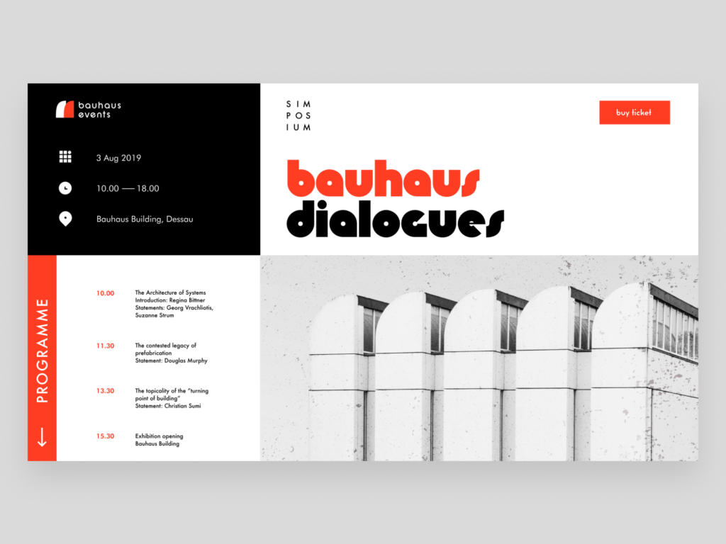 bauhaus events web design
