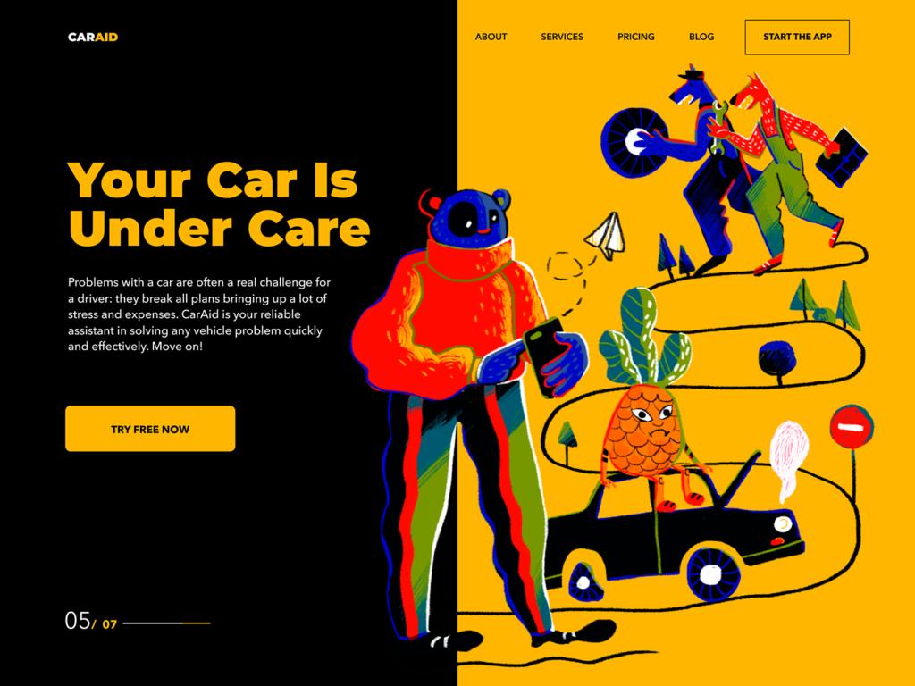 car aid landing page design