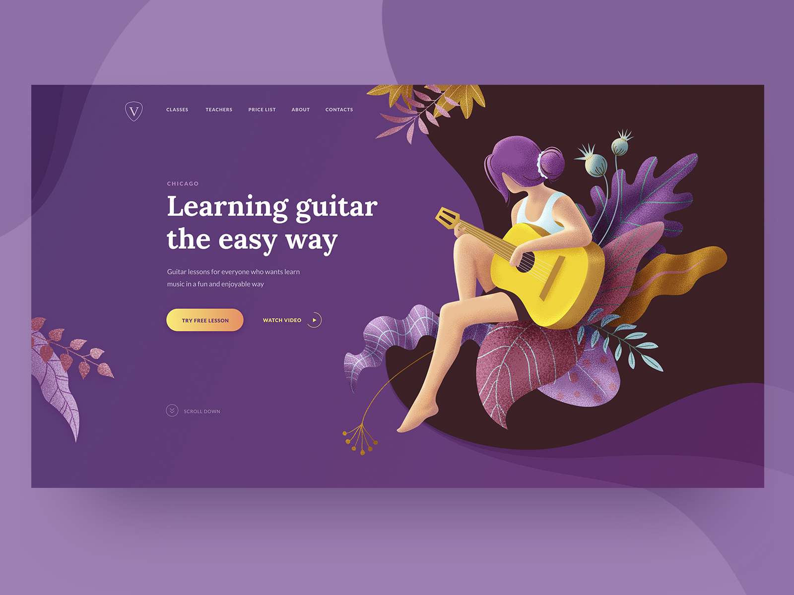 guitar lessons webpage