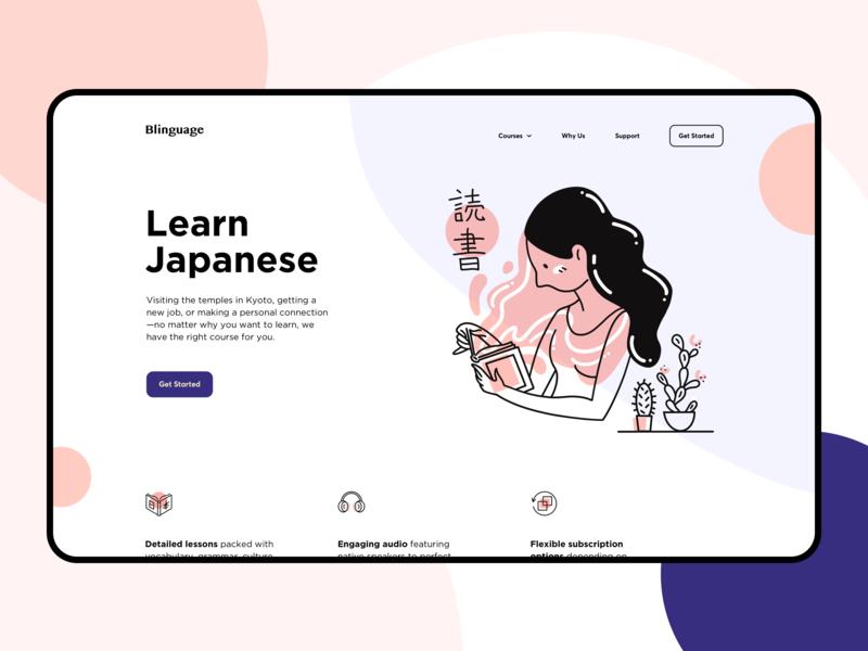 language courses landing page design