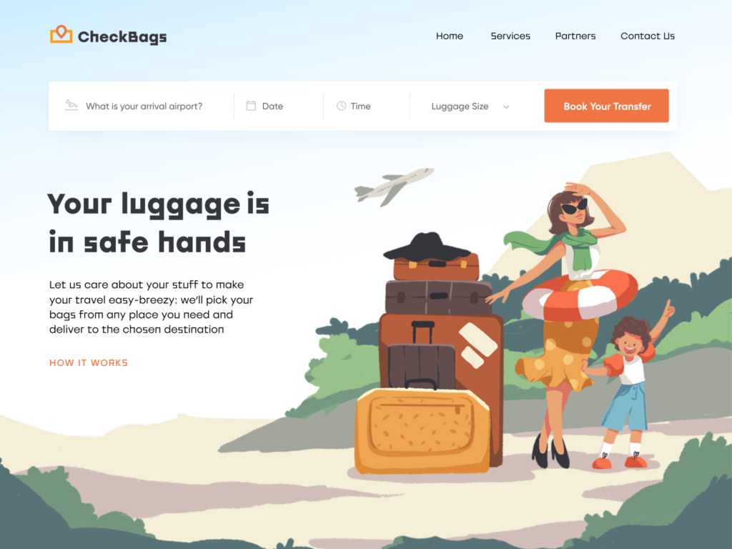 luggage delivery service website design