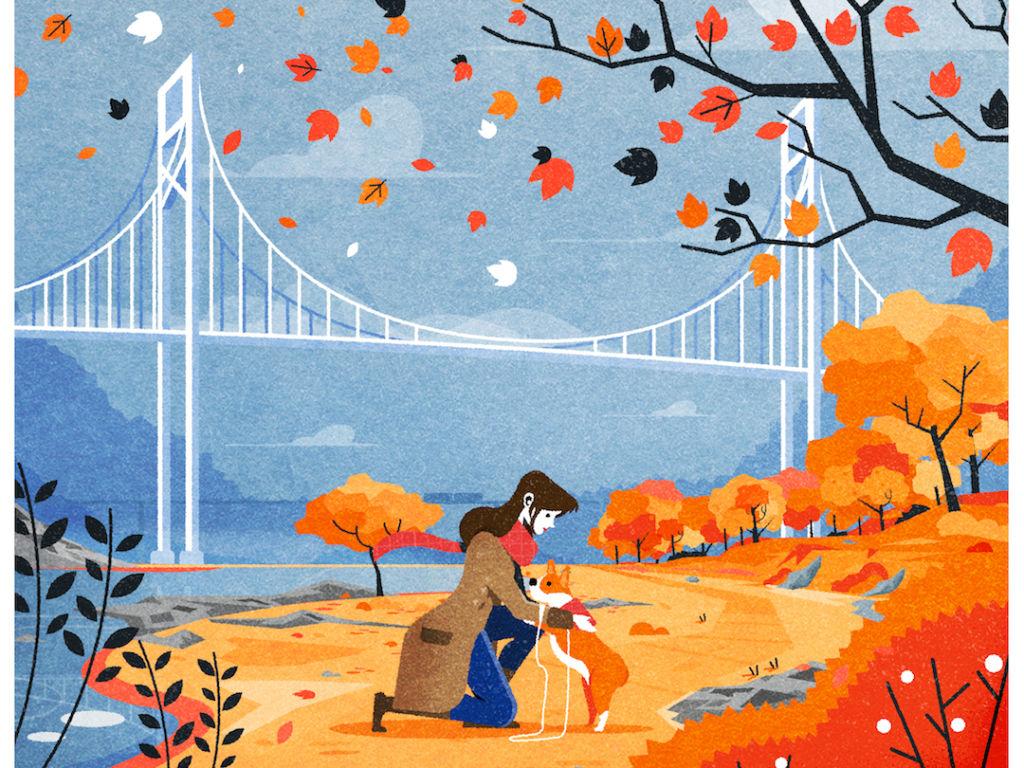 autumn city illustration