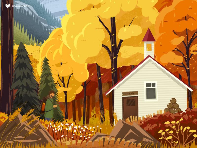 autumn forest cabin illustration