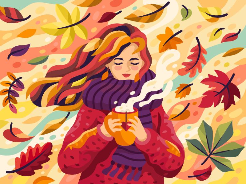 autumn girl art