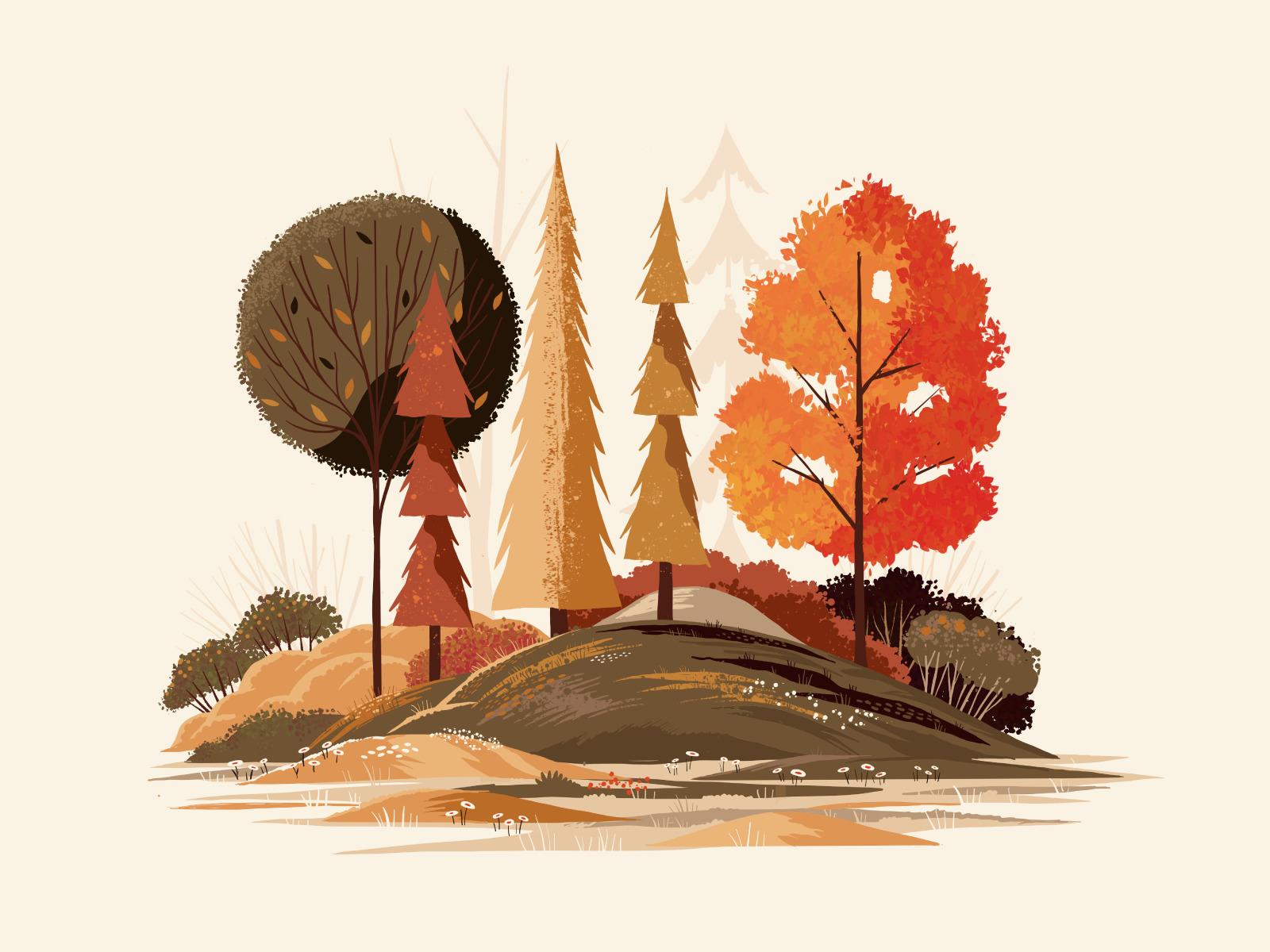 Барви осені: 30+ осінніх цифрових ілюстрацій