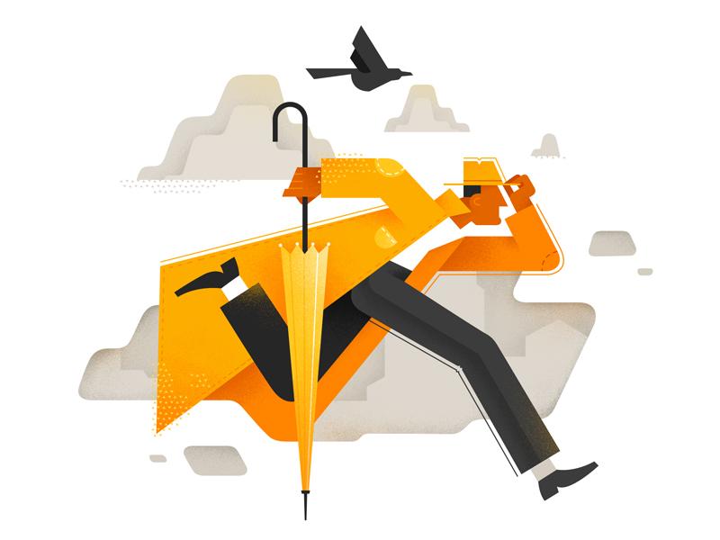 autumn man illustration