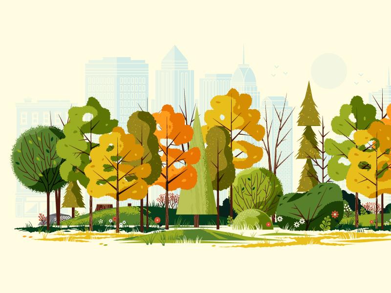 fall city illustration