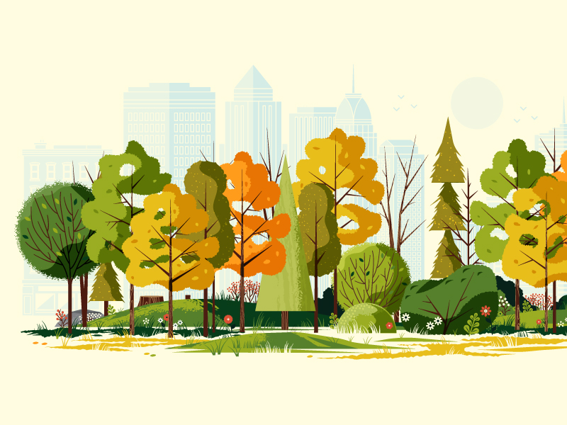 fall city illustration